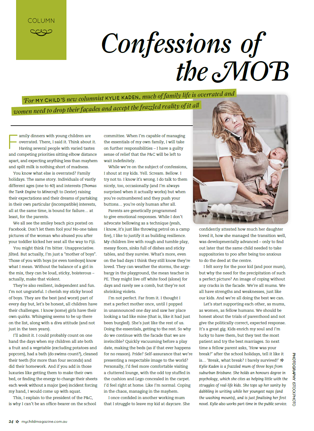 My Child Column - Confessions of the M.O.B